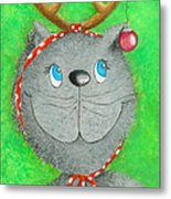 Christmas Cat Metal Print by Sonja Mengkowski