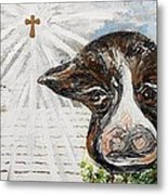 Christmas Cow - Oh To Have Been There... Metal Print