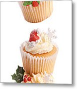 Christmas Cupcake Tower Metal Print