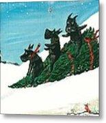 Christmas Day Scottie Style Metal Print