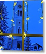 Christmas Decoration - Yellow Stars And Blue Church Metal Print by Matthias Hauser