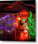 Christmas Decorations At Residential Metal Print