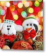 Christmas Dog And Penguin Metal Print