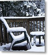 Christmas Eve Deck Chair Metal Print