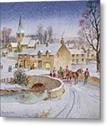 Christmas Eve In The Village  Metal Print