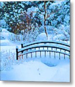Christmas Eve Storm And The Little Garden Bridge Metal Print
