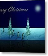 Christmas Eve Walk Of The Penguins  Metal Print