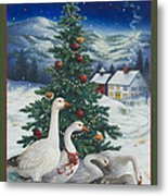Christmas Geese Metal Print
