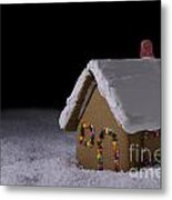 Christmas Gingerbread Cottage At Night Metal Print