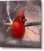 Christmas Greetings - Cardinal Metal Print