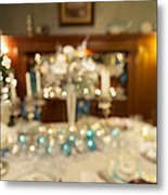 Christmas Holiday Dinner Table Decoration Blurred Metal Print