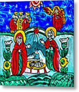 Christmas Icon Religious Naive Folk Art Nativity Metal Print