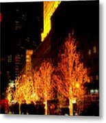 Christmas In New York - Trees And Star Metal Print