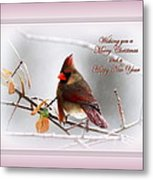 Christmas In Pink - Cardinal Christmas Metal Print