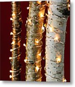 Christmas Lights On Birch Branches Metal Print by Elena Elisseeva