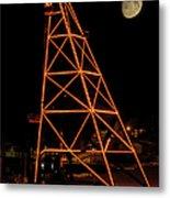 Christmas Moon Over Butte Headframe Metal Print