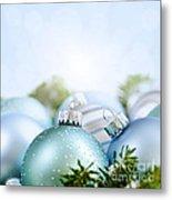 Christmas Ornaments On Blue Metal Print