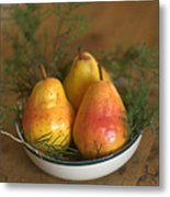 Christmas Pears In A Bowl Metal Print
