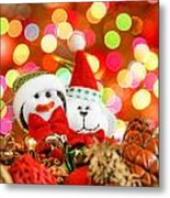Christmas Penguin And Puppy Metal Print