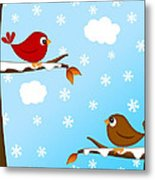 Christmas Red Cardinal Bird Pair Winter Scene Metal Print