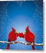 Christmas Red Cardinal Twig Snowing Heart Metal Print by Frank Ramspott