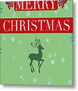 Christmas Reindeer Greeting Card Metal Print