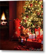 Christmas Scene With Tree And Fire In Background Metal Print