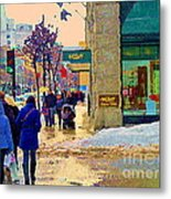Christmas Shoppers Ogilvys Enchanted Village Window Display A Montreal Xmas Tradition Carole Spandau Metal Print