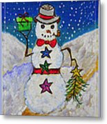 Christmas Snowman With Gifts Of Love Metal Print