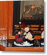 Christmas - Snowmen Collection- Fireplace Metal Print