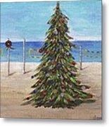 Christmas Tree At The Beach Metal Print
