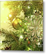 Christmas Tree Decorations With Sparkle Background Metal Print