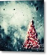 Christmas Tree Glowing On Winter Vintage Background Metal Print