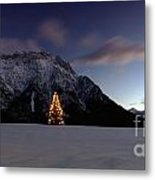 Christmas Tree In Front Of The Karwendel Metal Print