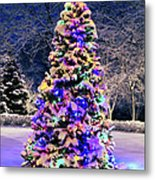 Christmas Tree In Snow Metal Print by Elena Elisseeva