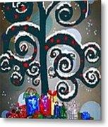 Christmas Tree Swirls And Curls Metal Print