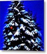 Christmas Tree With Red Ball Metal Print
