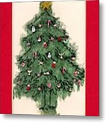 Christmas Tree With Red Mat Metal Print by Mary Helmreich