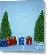 Christmas Trees With Red And Blue Presents Metal Print