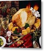 Christmas Turkey Dinner With Wine Metal Print by The Irish Image Collection
