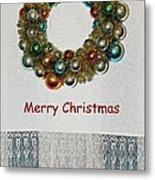 Christmas Wreath And Vintage Bulbs Metal Print