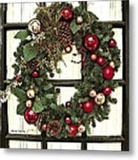 Christmas Wreath On Black Door Metal Print