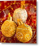 Christmasball Cupcakes In Red Metal Print