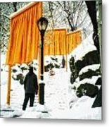 Christo - The Gates - Project For Central Park In Snow Metal Print