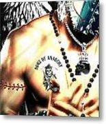 Christy Angel Mask Half Metal Print