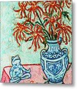 Chrysanthemum And Frog Metal Print