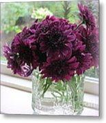 Chrysanthemums In A Glass Jar Metal Print