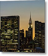 Chrysler And Un Buildings Sunset Metal Print