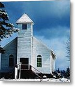 Chuch In The Snow Metal Print