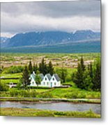 Church And Buildings National Park Pingvellir Iceland Metal Print